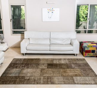 שטיחי סופר פאטצ בעבודת יד 023 חום בהיר