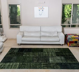 שטיחי סופר פאטצ בעבודת יד 027 ירוק כהה