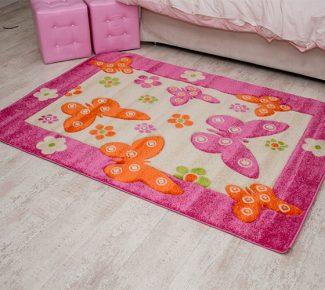 שטיח קידס/בוניטה 8C08A פרפרים ורוד
