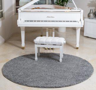שטיח שאגי קוויבק עגול אפור בהיר