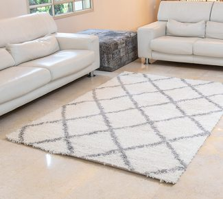 שטיח הרמוני שאגי לבן מעוינים אפור בהיר