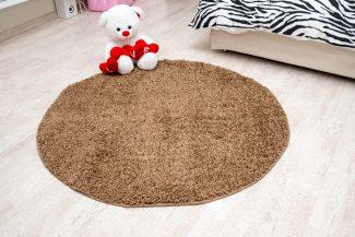 שטיח שאגי קוויבק עגול חום