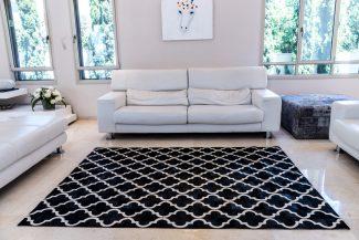 שטיח עור פרה בעבודת יד LEATHER - 8 - מעוינים שחור