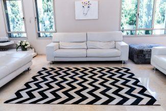 שטיח עור פרה בעבודת יד LEATHER - 09 - זיגזג שחור לבן