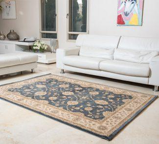 שטיח קירמן מסגרת בז' רקע תכלת 55056/032