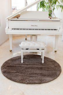 שטיח מיקרו שאגי עגול - חום B27