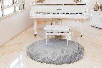 שטיח מיקרו שאגי עגול - אפור בהיר B18
