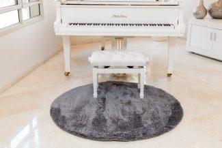 שטיח מיקרו שאגי עגול - אפור כהה V36
