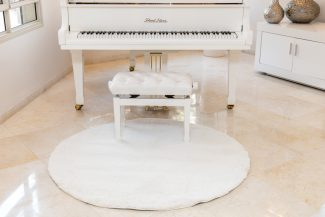 שטיח מיקרו שאגי עגול - לבן B45