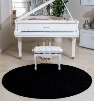 שטיח שאגי קוויבק עגול שחור