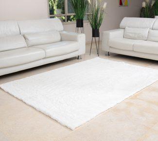 שטיח פוליאסטר שאגי לבן