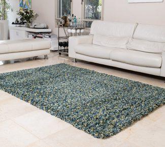 שטיח פלופי שאגי ירוק נקודות צהוב