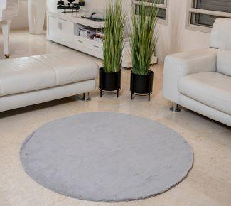 שטיח פוליאסטר שאגי אפור בהיר עגול