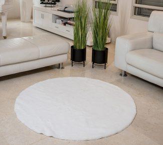 שטיח פוליאסטר שאגי לבן עגול