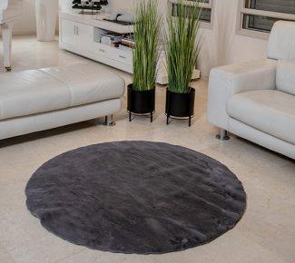 שטיח פוליאסטר שאגי אפור כהה עגול
