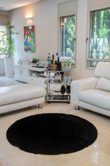 שטיח פוליאסטר שאגי שחור עגול