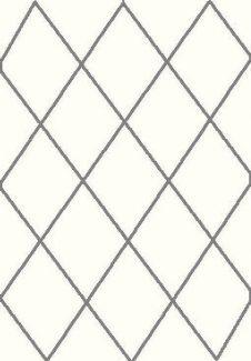 שטיח הרמוני שאגי לבן מעוינים אפור כהה
