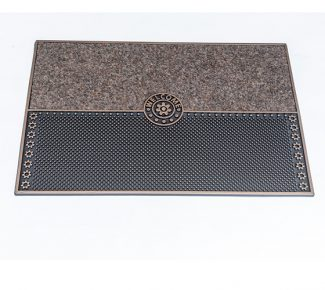 שטיח סף לכניסה סטון Welcome חום